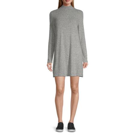 Arizona-Juniors Long Sleeve Swing Dresses, Small , Gray