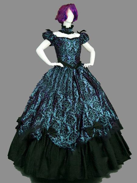Milanoo Disfraz Halloween Disfraces retro azul Disfraz de Maria Antonieta Conjunto de estilo victoriano Vestido de fiesta de disfraces Halloween