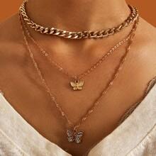 3pcs Butterfly Decor Necklace