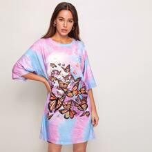 T-Shirt Kleid mit Batik und Schmetterling Muster