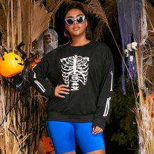 Sweatshirt mit Skelett Muster und sehr tief angesetzter Schulterpartie
