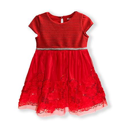 Nannette Baby Toddler Girls Sleeveless Cap Sleeve A-Line Dress, 4t , Red