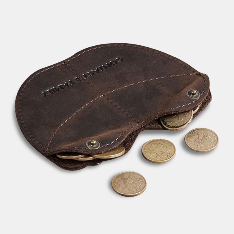 Men Genuine Leather Vintage Coin Purse Storage Bag Wallet