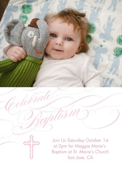 Christening + Baptism 5x7 Cards, Premium Cardstock 120lb, Card & Stationery -Baptismal Blessings - Rose