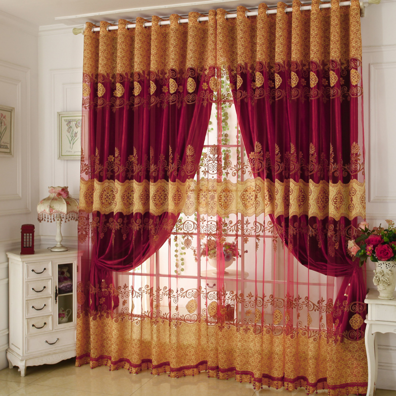 Shading and Sheer Together Embroidery Chenille Ready Made Curtain Sets 84W 84L 2 Panel Set Noise Reducing Privacy Protection and Energy Efficiency Phy