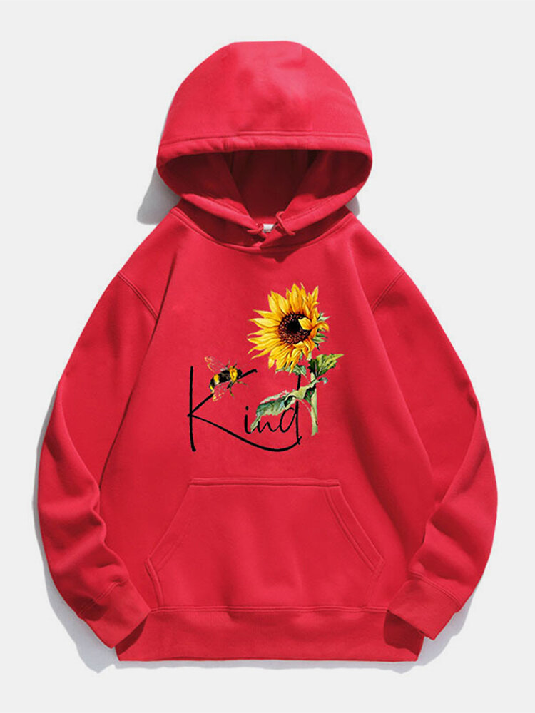 Sunflower Letters Printed Long Sleeve Drawstring Hoodie For Women