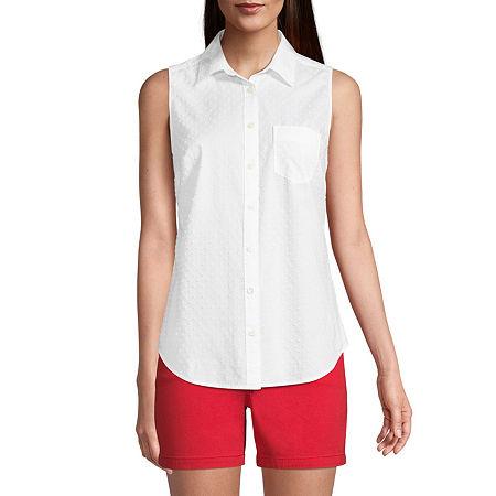 St. John's Bay Womens Sleeveless Regular Fit Button-Down Shirt, Large , White