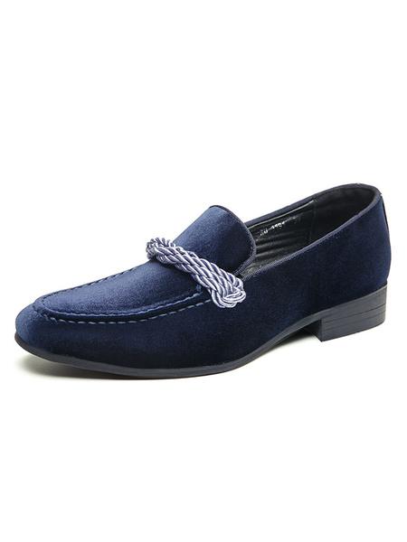Milanoo Men\'s Loafer Shoes Slip-On Monk Strap Velvet Round Toe PU Leather Dress Shoes