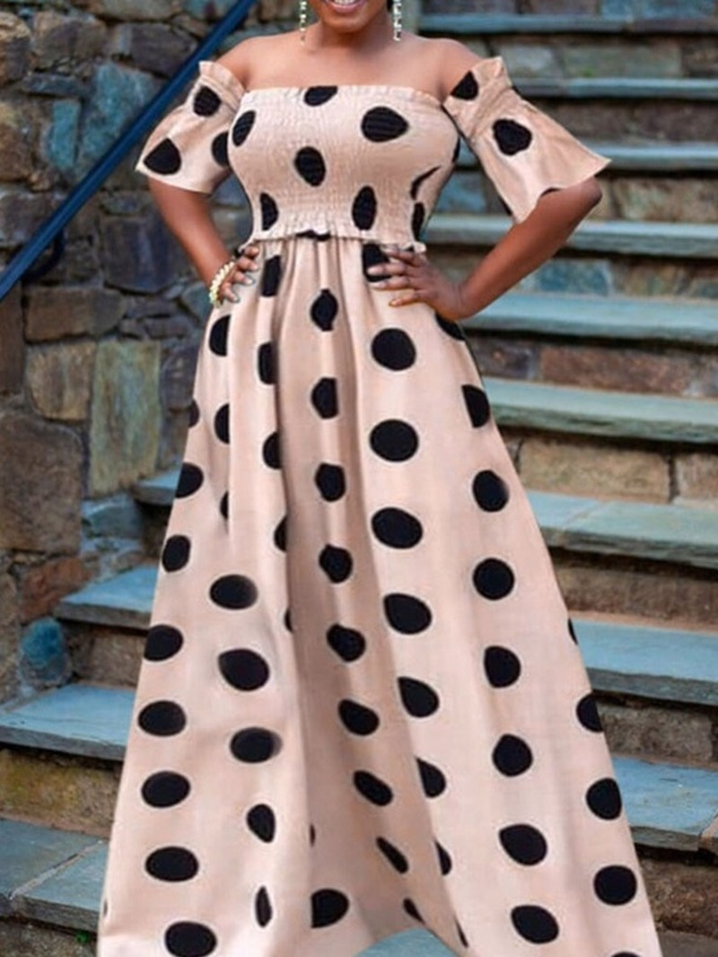 Ericdress Half Sleeve Off Shoulder Floor-Length Polka Dots Summer Dress