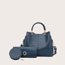 3pcs Croc Embossed Satchel Bag Set