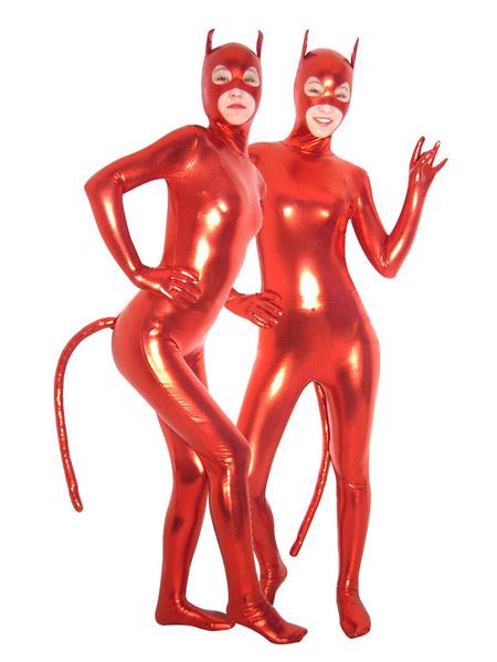 Milanoo Disfraz Halloween Sexy Rojo Catsuit Boca Ojos Abiertos Disfraz Cosplay Halloween