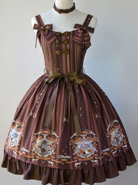 Milanoo Classic Lolita JSK Dress Bedtime Book Print Bow Ruffle Burgundy Lolita Jumper Skirt