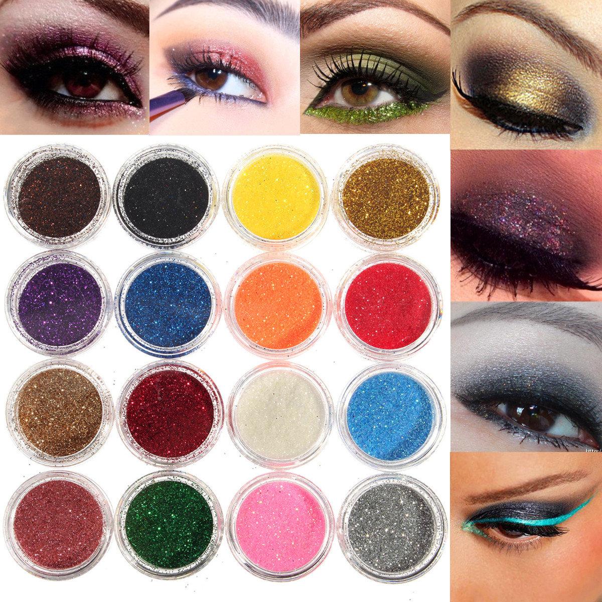 16 Mixed Colors Glitter Powder Eyeshadow Makeup Smoked Eye Shadow Cosmetics Set