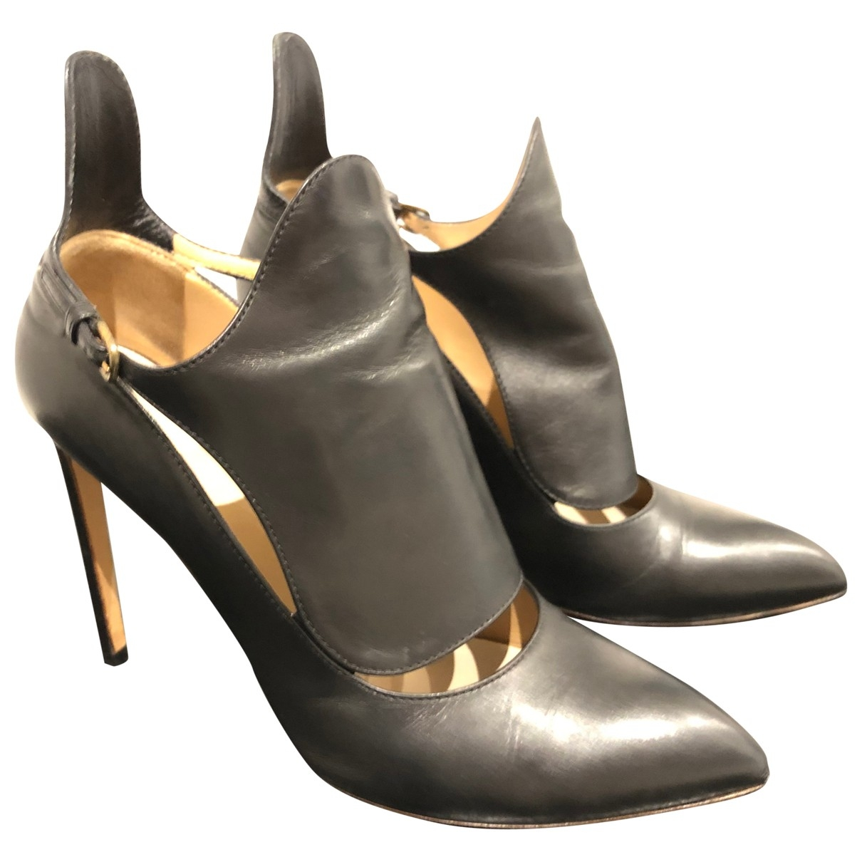 Francesco Russo - Escarpins   pour femme en cuir - noir