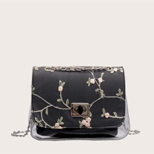 Floral Embroidery Clear Crossbody Bag