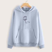 Rose Graphic Oversized Hoodie