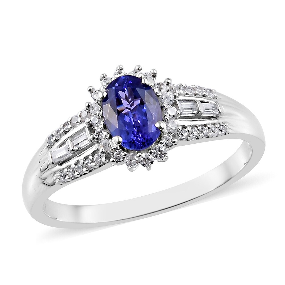 Sterling Silver AAA Blue Tanzanite Zircon Halo Ring Ct 1.22 (Ring 10)