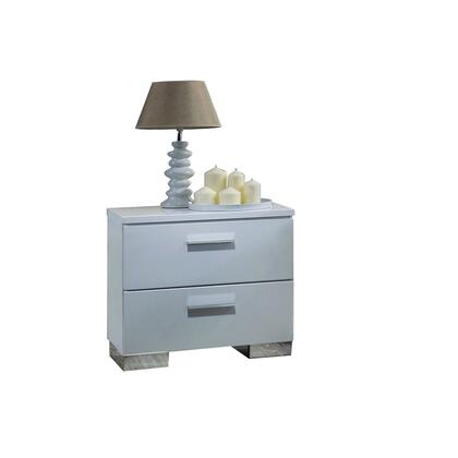 BM194246 Contemporary Style Wooden Nightstand with Two Drawers and Metal Bracket Legs