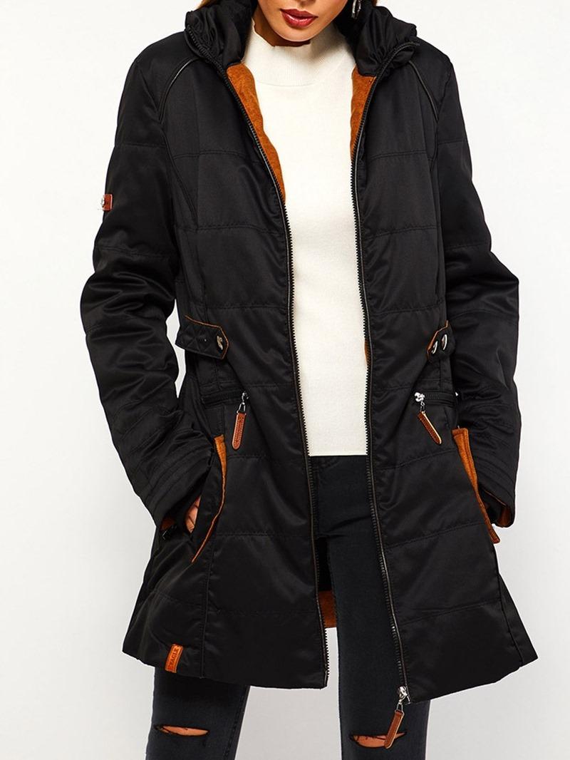 Ericdress Zipper Slim Pocket Mid-Length Cotton Padded Jacket