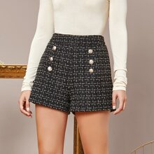 Double-breasted Front Tweed Shorts
