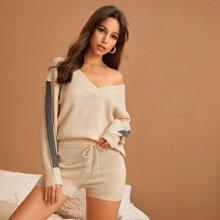 Pullover mit Kontrast und seitlicher Naht & Shorts mit Taillenband Set