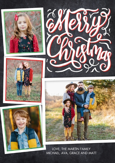 Christmas Photo Cards 5x7 Cards, Premium Cardstock 120lb, Card & Stationery -Christmas Chalkboard Greeting by Tumbalina