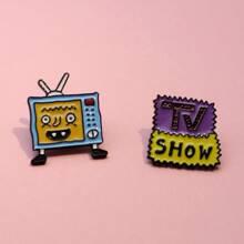 2 Stuecke Karikatur TV formige Brosche