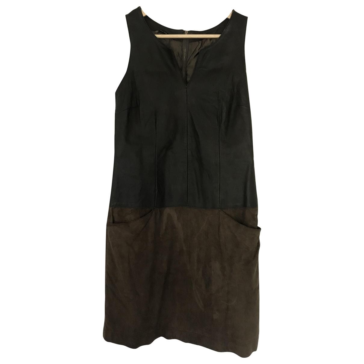 Massimo Dutti \N Khaki Leather dress for Women S International