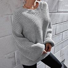 Einfarbiger Pullover mit Bishofaermeln