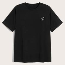 Maenner T-Shirt mit Papierflieger Muster