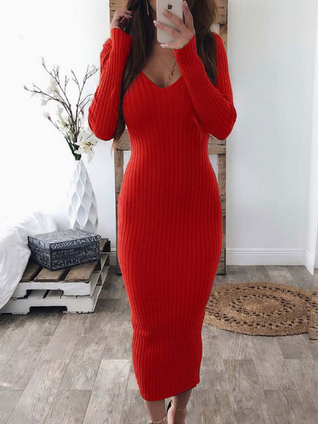 Milanoo Sexy Bodycon Dresses Red U-Neck Long Sleeve Slim Fit Sheath Dress