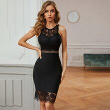 Sesidy Lace Bodice Zip Back Bandage Dress