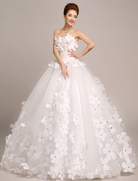 Milanoo Ivory Wedding Dresses Princess Ball Gowns Bridal Dress 3D Flowers Strapless Beaded Women Pageant Dresses