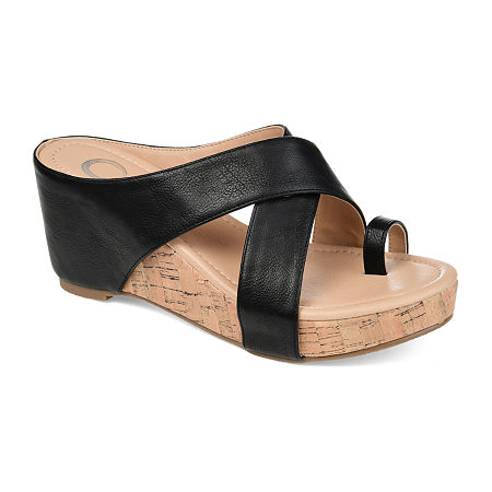 Journee Collection Womens Rayna Wedge Sandals, 11 Medium, Black