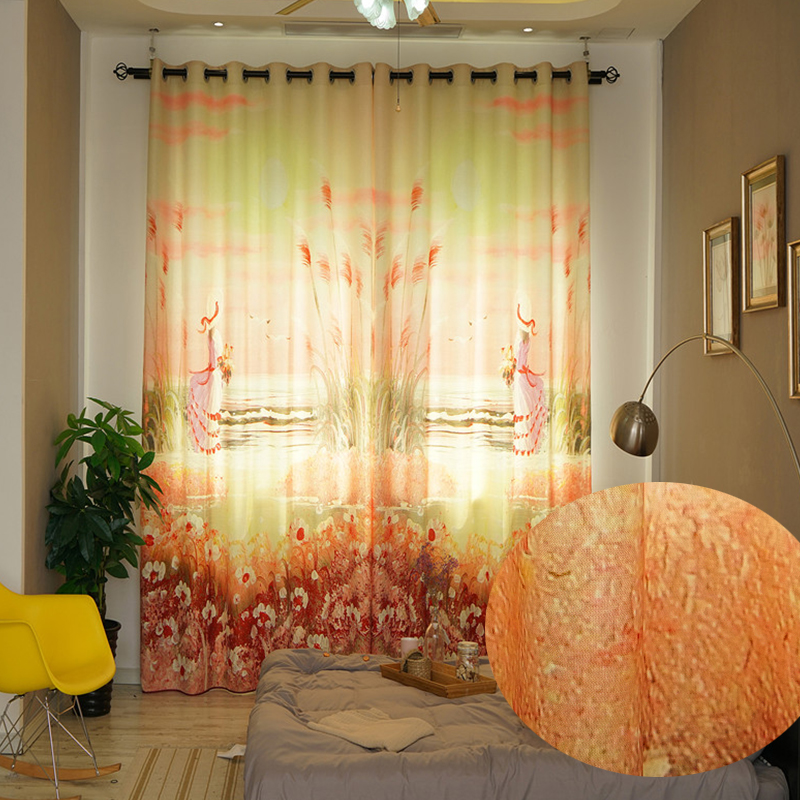 Blackout Thick Polyester Digital Printing Cartoon Sunset Girl Romantic Style Grommet Top Curtain
