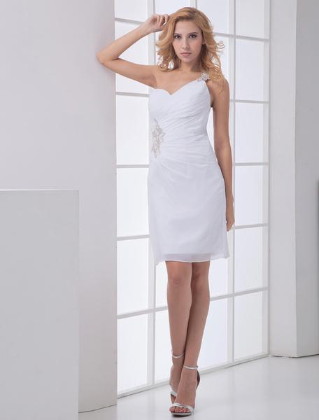 Milanoo Vestidos De Novia Sencillos Blanco Ajustado Un Hombro Gasa Vestido De Novia
