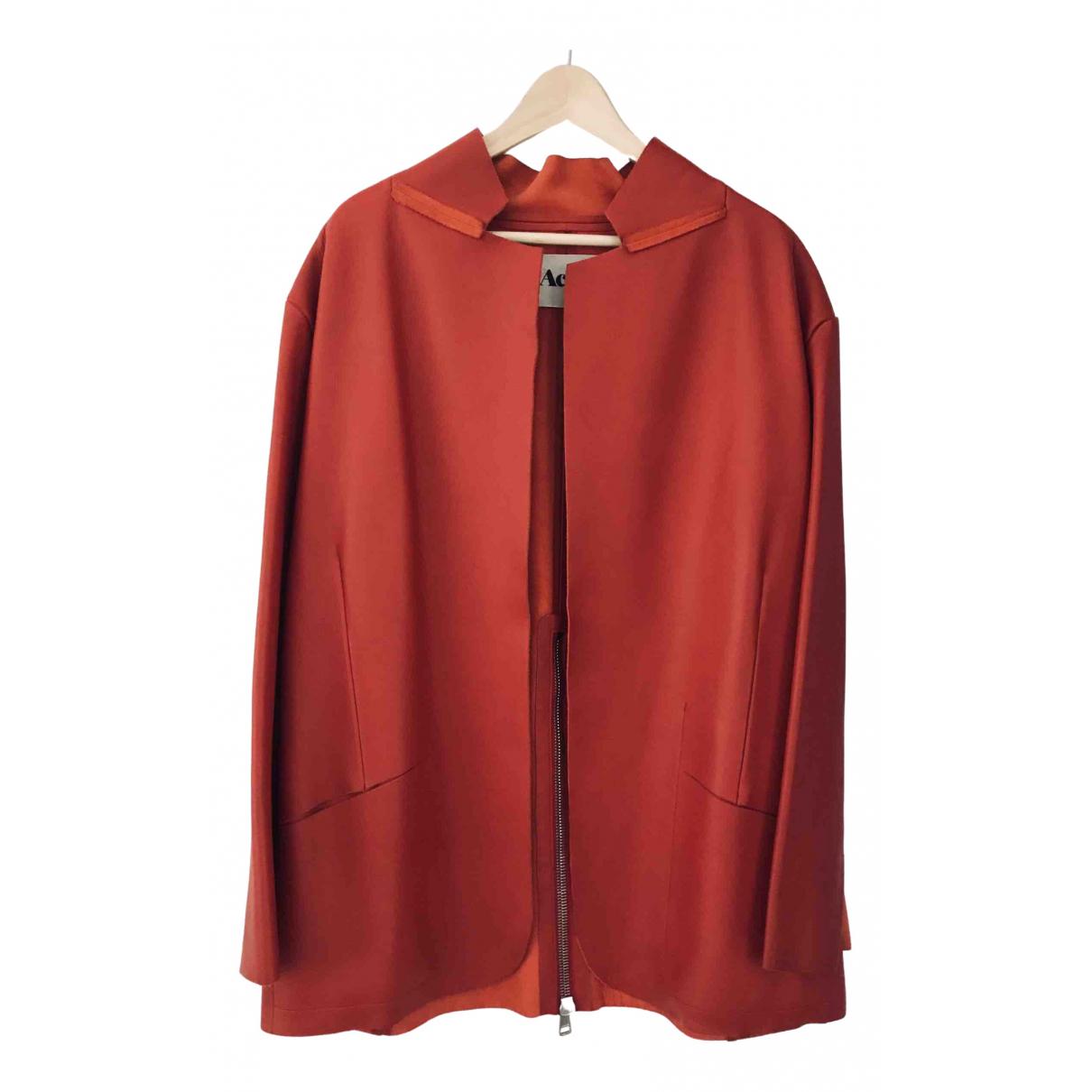 Acne Studios - Veste   pour femme en cuir - rouge