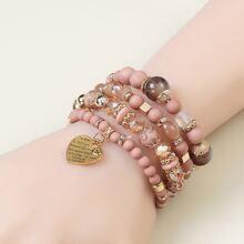Armband mit Herzen Anhaenger und Kristall Dekor