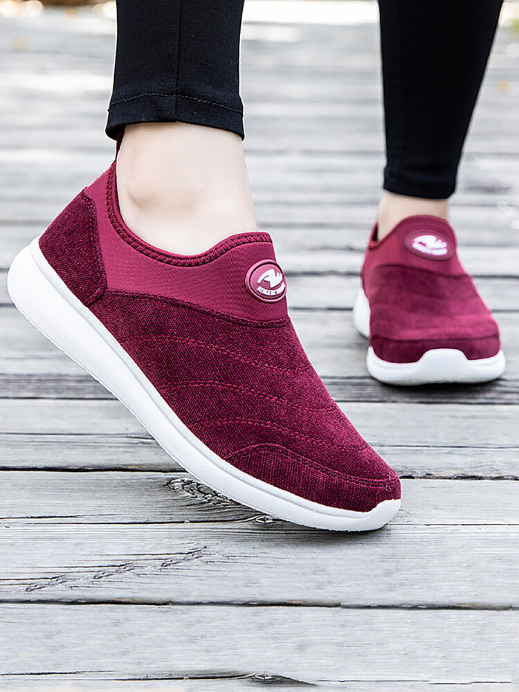 Women's Solid Color Casual Slip On Sports Shoes