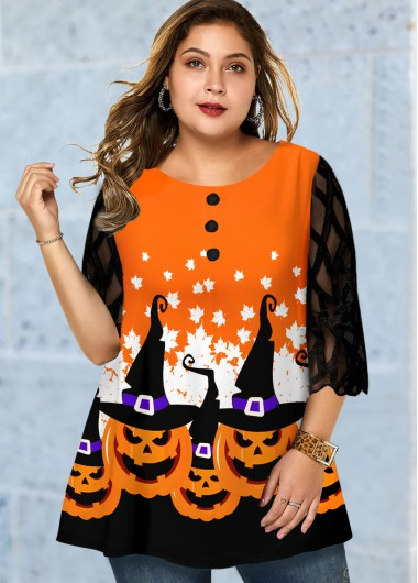 Halloween Print Mesh Panel Plus Size T Shirt - 2X