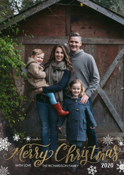 Christmas Photo Cards 5x7 Cards, Premium Cardstock 120lb with Rounded Corners, Card & Stationery -Christmas 2020 Snowflakes by Tumbalina
