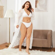 Plus Sheer Lace Robe Without Lingerie Set