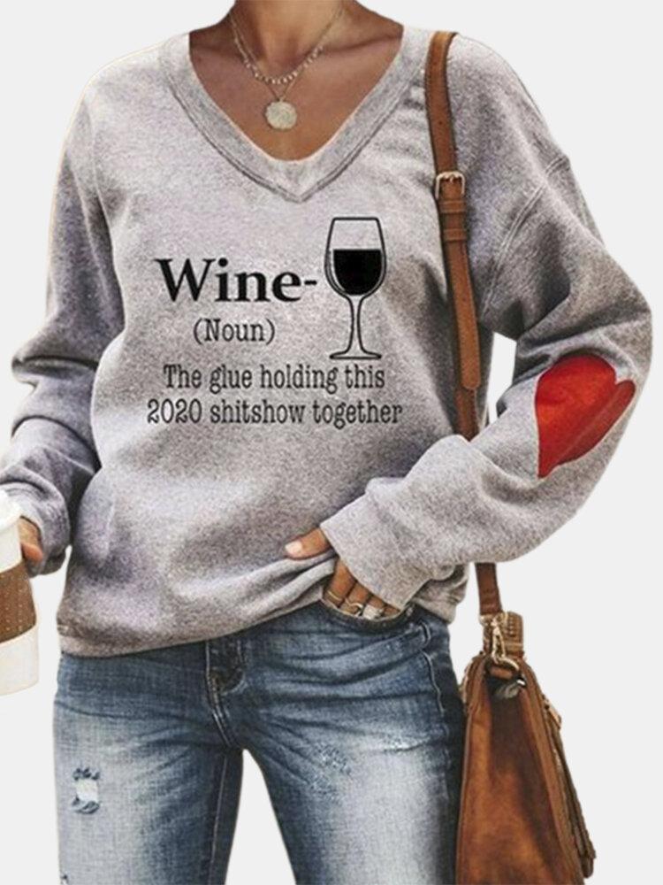 Love Print V-neck Long Sleeve Plus Size Sweatshirt For Women