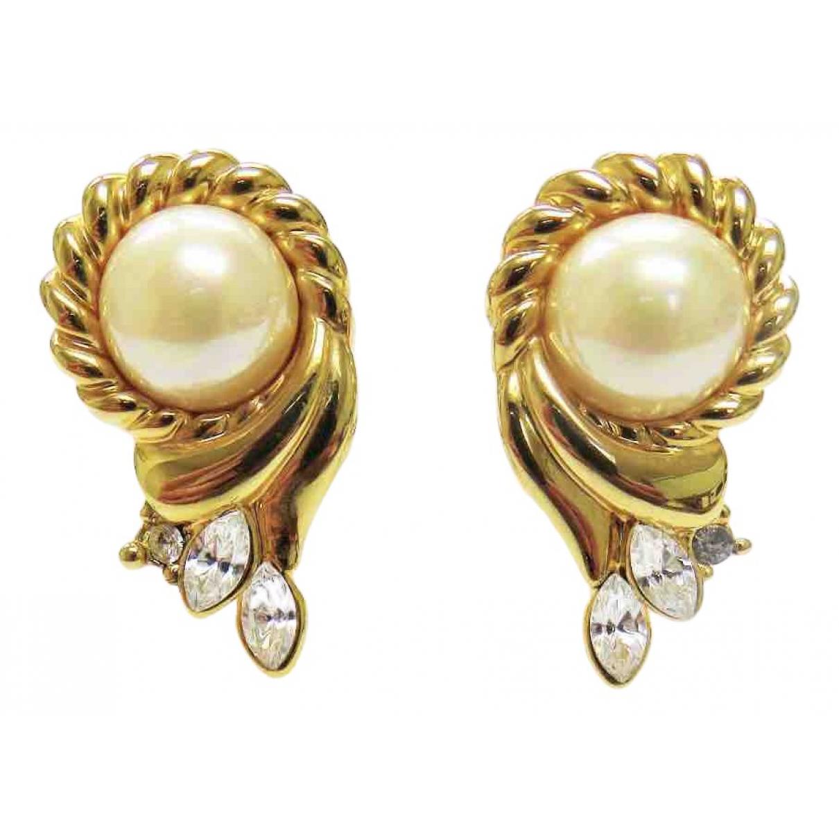 - Boucles doreilles Art Deco pour femme en plaque or - dore