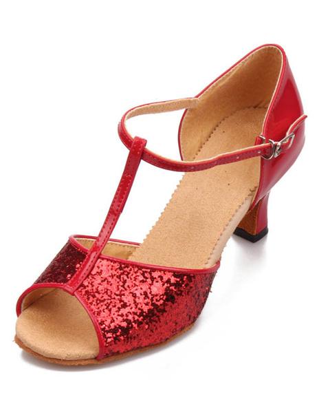 Milanoo Latin Dancing Shoes 2020 Silver Ballroom Dance Shoes Sequined Open Toe T Type Dance Shoes