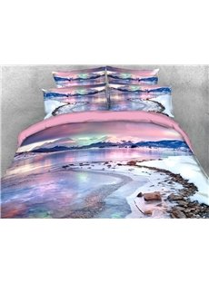 Winter Lake 3D Scenery Comforter Soft Lightweight Warm 5-Piece Comforter Sets