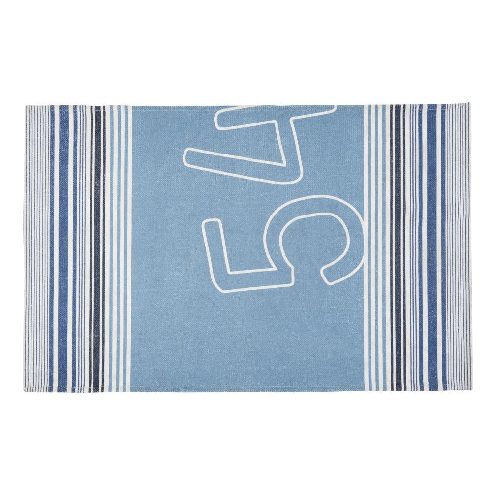 Outdoor-Teppich mit blauen und beigen Grafikmotiven 160x230