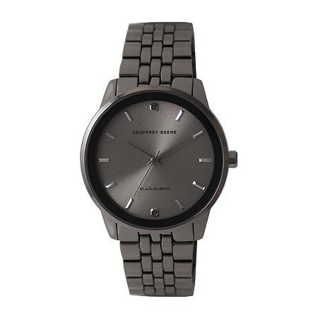 Geoffrey Beene Genuine Black Diamond Accent Mens Gray Bracelet Watch-Gb8165gu, One Size , No Color Family