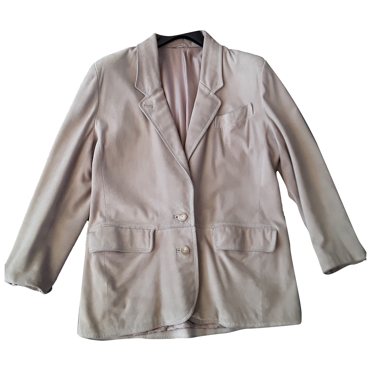 Non Signé / Unsigned \N Beige Suede jacket for Women 44 IT