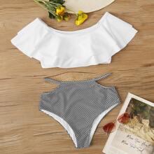 Schulterfreier Bikini mit mehrschichtigem Design, Streifen und hoher Taille